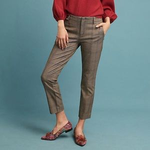 NWT Anthropologie essential slim plaid trousers